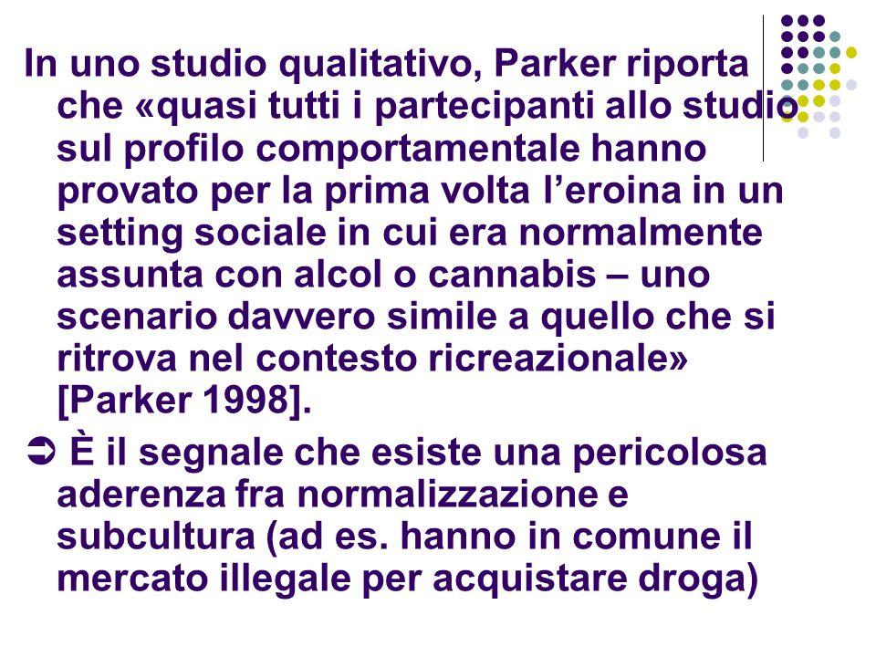 In uno studio qualitativo, Parker riporta che «quasi tutti i partecipanti allo studio sul profilo comportamentale hanno provato per la prima volta l'eroina in un setting sociale in cui era normalmente assunta con alcol o cannabis – uno scenario davvero simile a quello che si ritrova nel contesto ricreazionale» [Parker 1998].